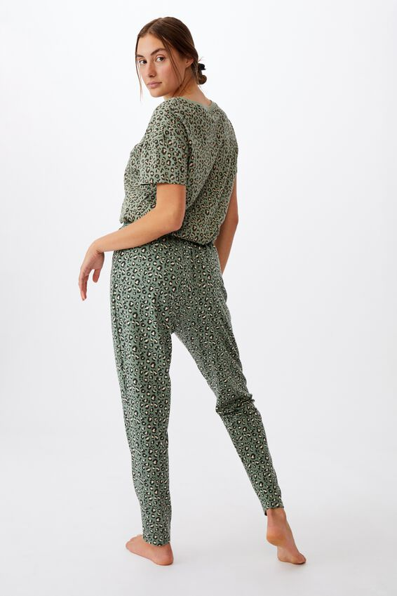 The Lounge Pant, MICRO LEOPARD/BASIL GREEN