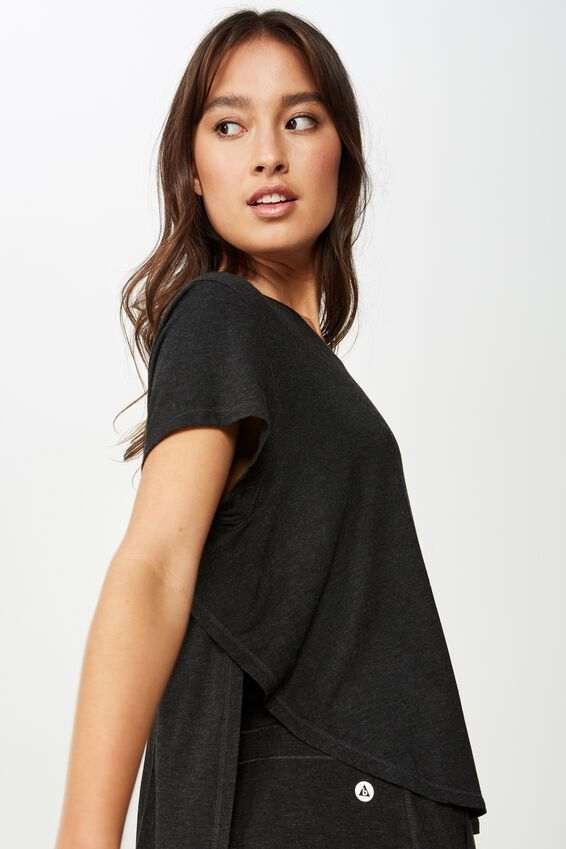 Sleep Recovery Curved T Shirt, BLACK MARLE