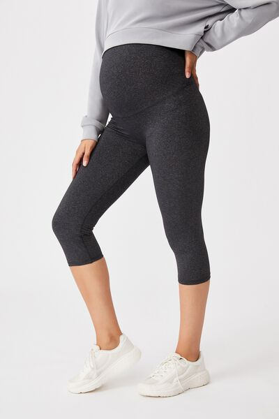 Maternity Core Capri Over Belly Tight, CHARCOAL MARLE