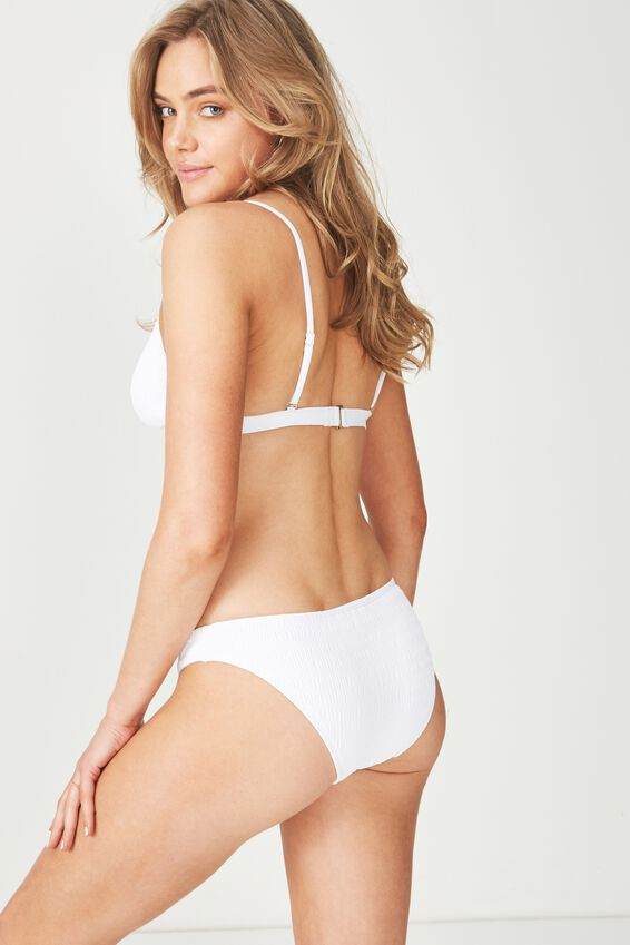 Daisy Shirred Cheeky Bikini Bottom, WHITE