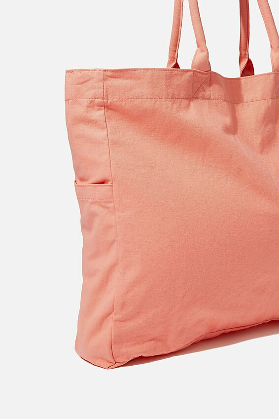 Oversized Tote, WASHED CORAL
