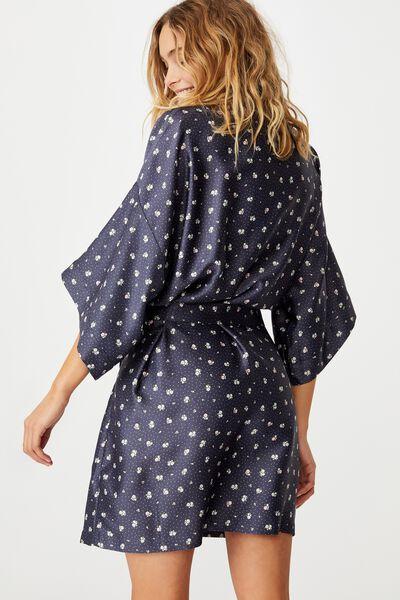 Satin Kimono Gown, DITZY FLOWER SPOT/PHANTOM