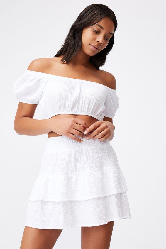 Double Ruffle Beach Skirt, WHITE