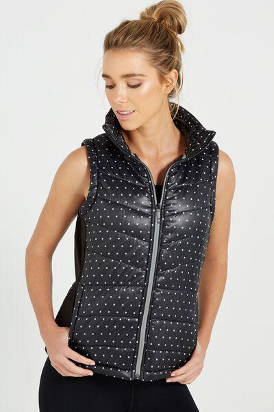 Slimline Puffer Vest, BLACK SPOT