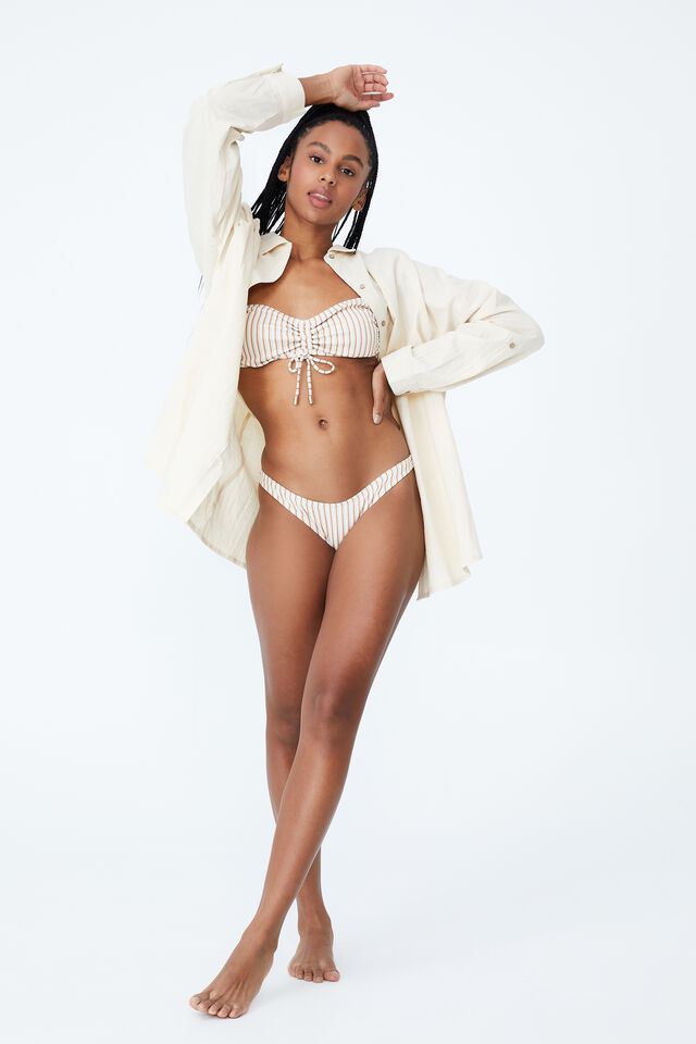 High Side Brazilian Seam Bikini Bottom, MINT CHIP MULTI LUREX STRIPE