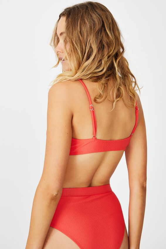 Knot Front Bralette Bikini Top, SPICY RED RIB