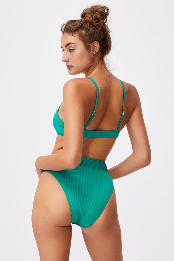 U Crop Bralette Bikini Top, EMERALD GREEN RIB