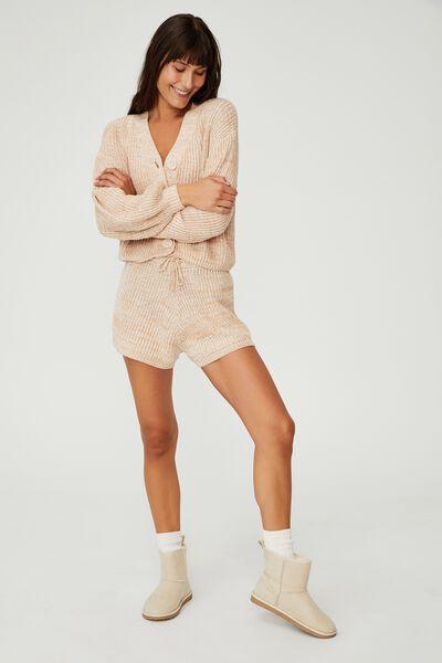 Organic Cotton Knit Lounge Short, ALMOND BUTTER MARLE