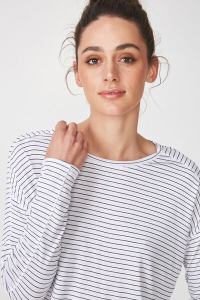 Sleep Recovery Long Sleeve Top, MIDNIGHT STRIPE