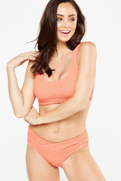 Crinkle Scoop Bralette Bikini Top, SPICED CORAL