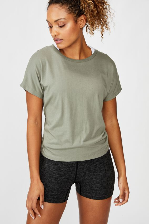 Drop Sleeve Tie Back T Shirt, STEELY SHADOW