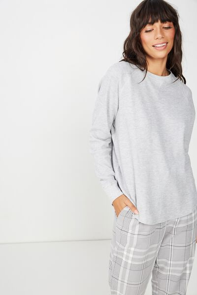 Waffle Crew Long Sleeve Top, GREY MARLE