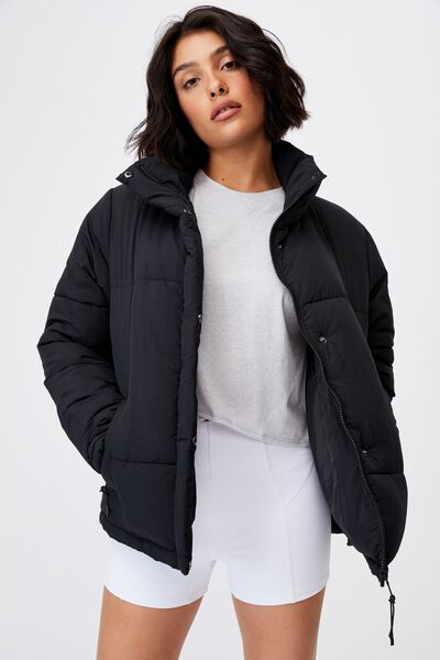 The Recycled Mother Puffer Jacket, BLACK
