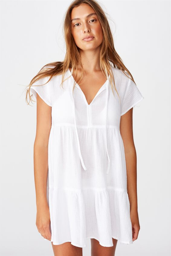 Babydoll Beach Dress, WHITE