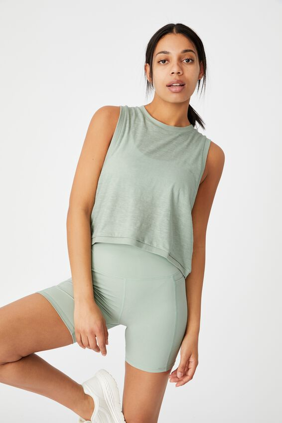 All Things Fabulous Cropped Muscle Tank, MINT CHIP