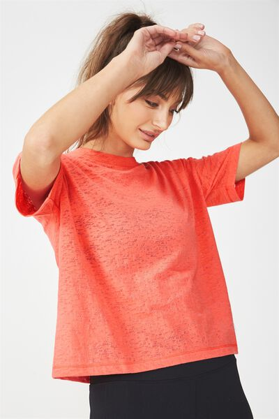 Boxy Burnout T Shirt, HOT CORAL
