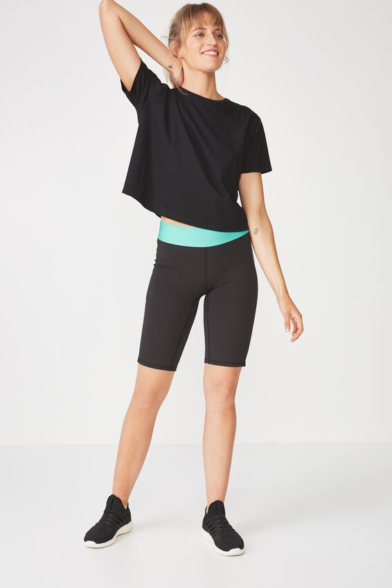 Active Mid Gym Short, BLACK/KELLY GREEN