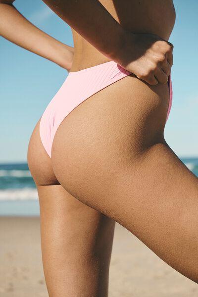 Refined High Side Brazilian Bikini Bottom, STRAWBERRY RIB