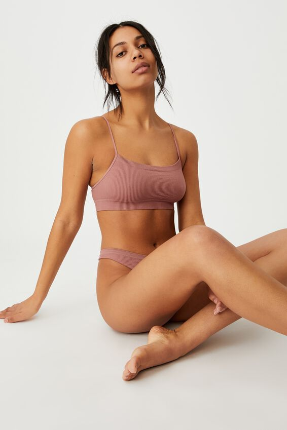 Seamless Straight Neck Crop, DUSTY ROSE