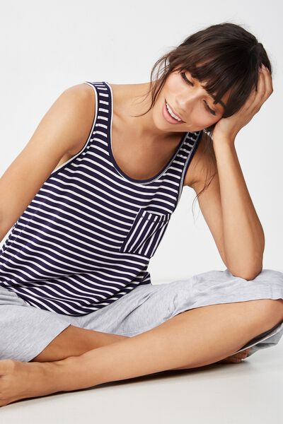 Sleep Recovery Pocket Tank, NAVY/WHITE STRIPE