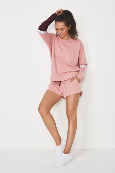 Long Sleeve Terry Crew Top, MERINGUE