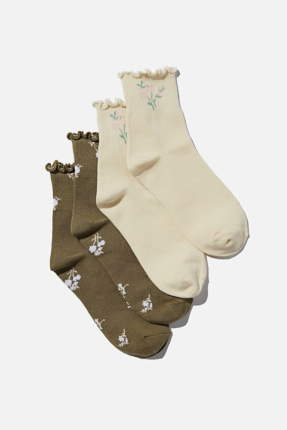 2Pk Frill Hem Sock, OREGANO/BUTTERMILK