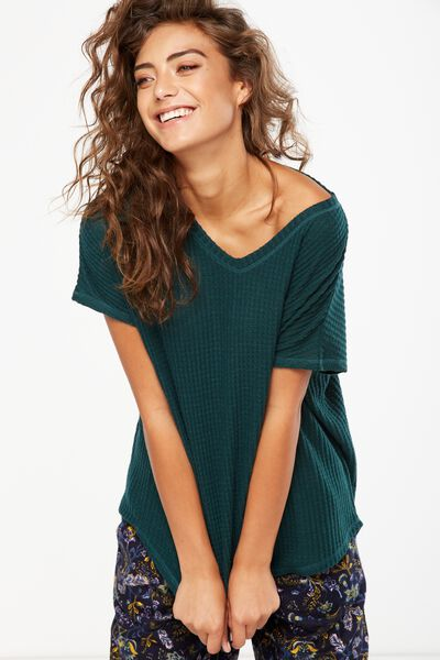 Brushed Waffle T Shirt, HUNTER GREEN