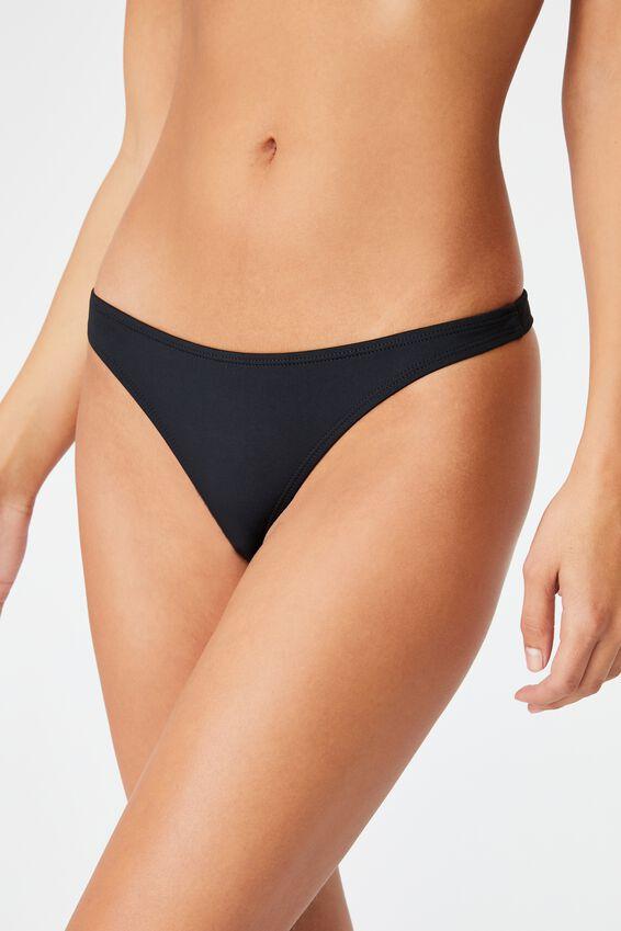 Gathered Bum G-String Bikini Bottom, BLACK
