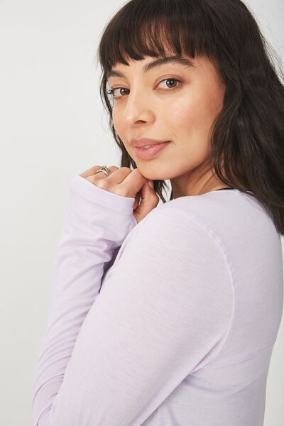 Maternity Long Sleeve Sports Top, ICY LILAC