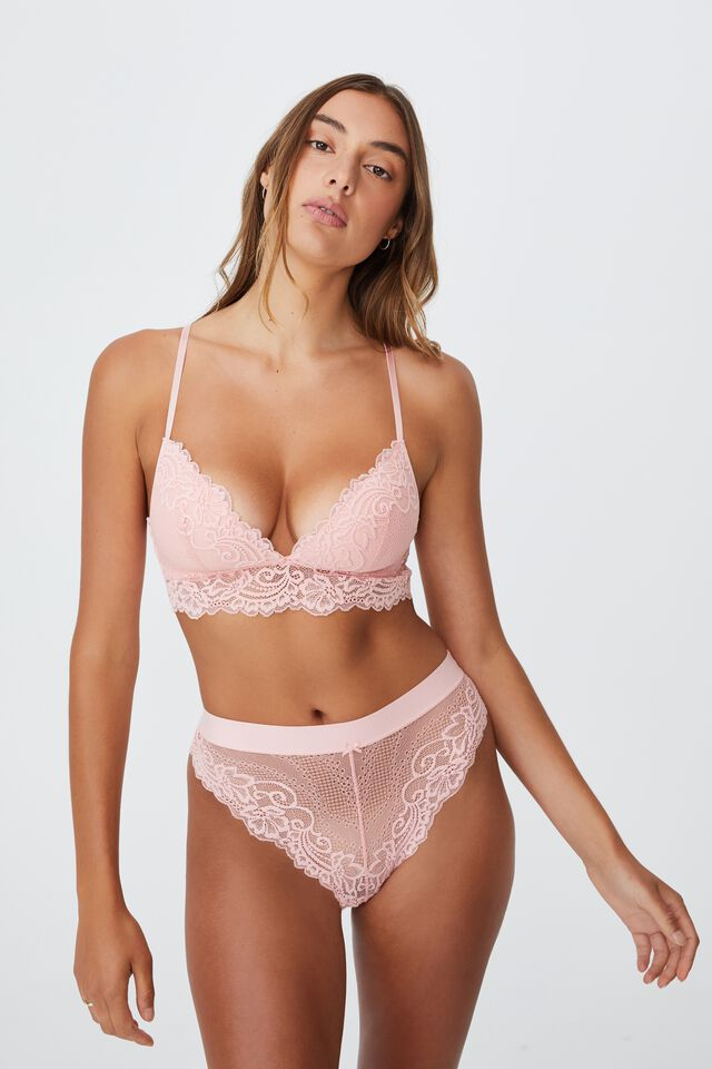 Ainsley Lace High Cut Brasiliano Brief, CANDY FLOSS