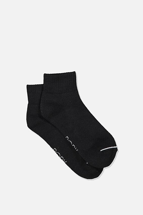 Reggie Sports Low Crew Sock, BLACK