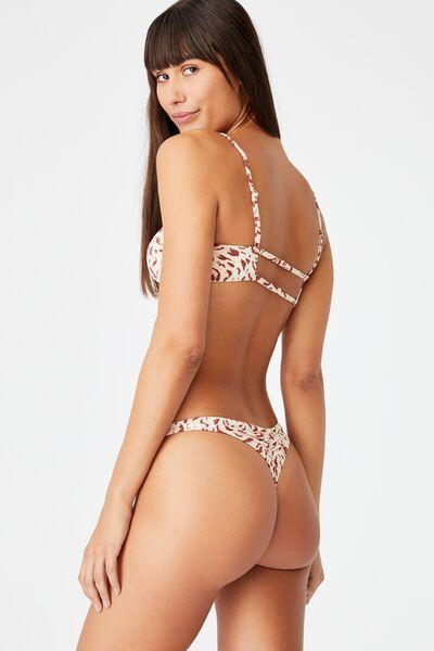 Gathered Bum G-String Bikini Bottom, MOVEMENT LEOPARD