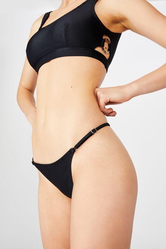 Tanga Micro Bikini Bottom, BLACK RIB