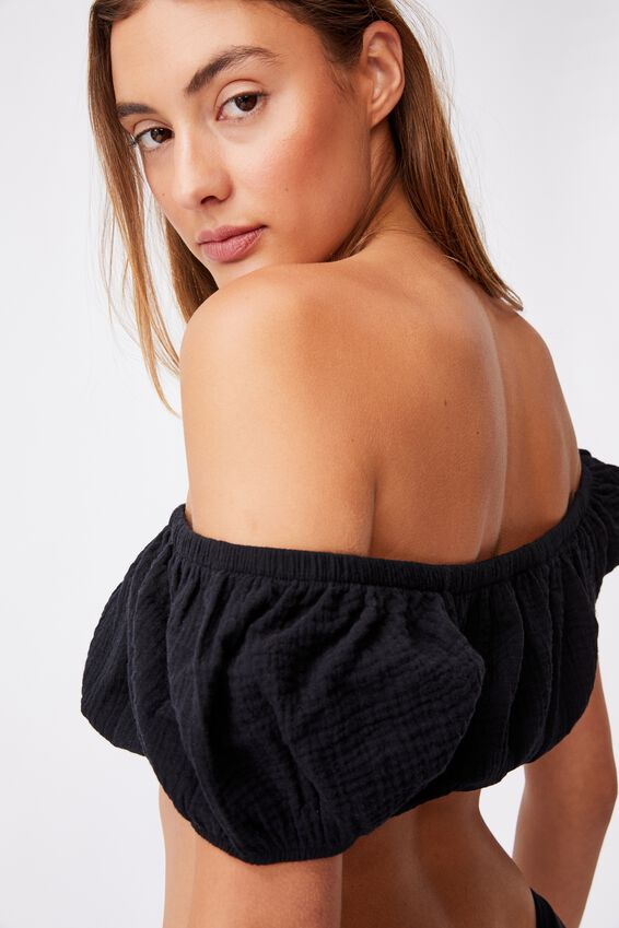 Off The Shoulder Beach Top, BLACK