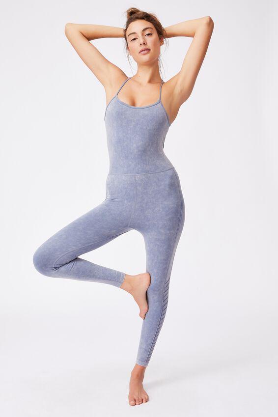 Lifestyle Seamless Yoga Onesie, BLUE JAY WASH
