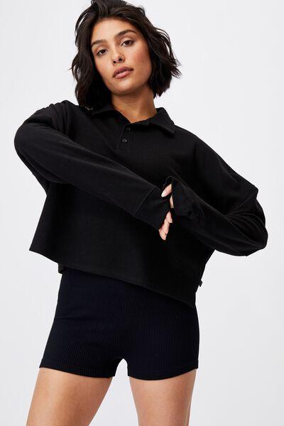 Lifestyle Polo Fleece Top, BLACK