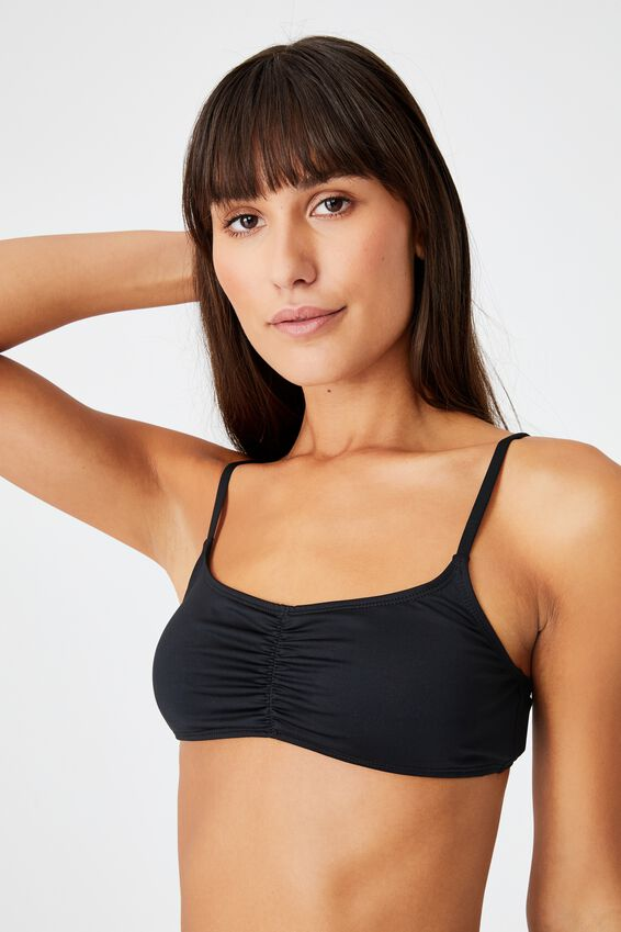Gathered Front Backless Bikini Top, BLACK