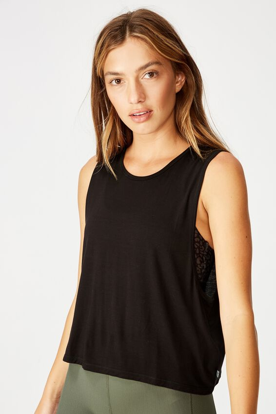 Cropped Keyhole Washed Tank, BLACK