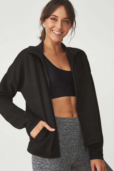 Ribbed Jacket, BLACK