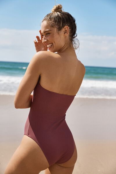 Strapless One Piece Cheeky, ROSE SANGRIA RIB