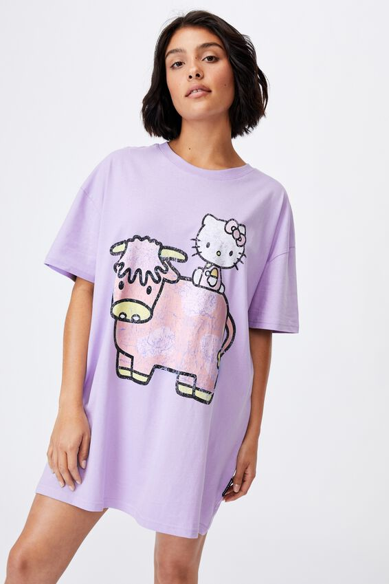 90 S Tshirt Nightie, LCN SAN HK KITTY & COW CHALKY LAVENDAR