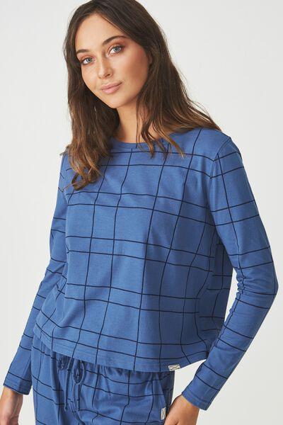Boxy Long Sleeve Top, HAND DRAWN CHECK/SKY BLUE