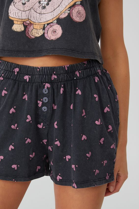 Jersey Button Boxer Short, PAIR OF HEARTS/WASHED BLACK