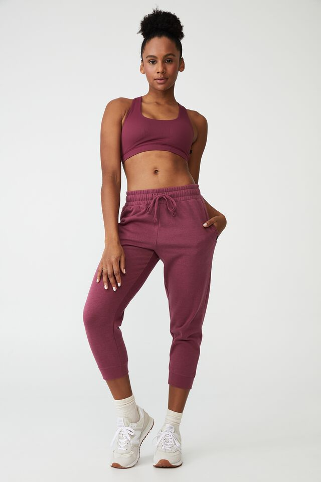Lifestyle Cropped Gym Track Pants, PINOT ROSE