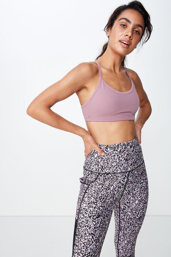 Workout Yoga Crop, MAUVE TEXTURE