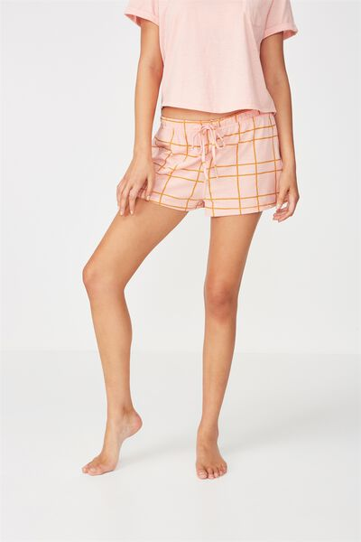 Jersey Short, HAND DRAWN CHECK PETAL PINK
