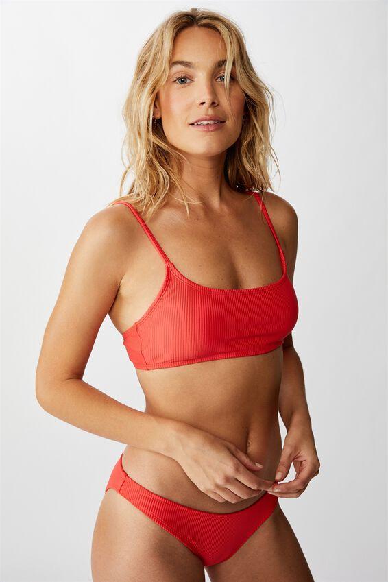 Scoop Crop Bralette Bikini Top, SPICY RED RIB