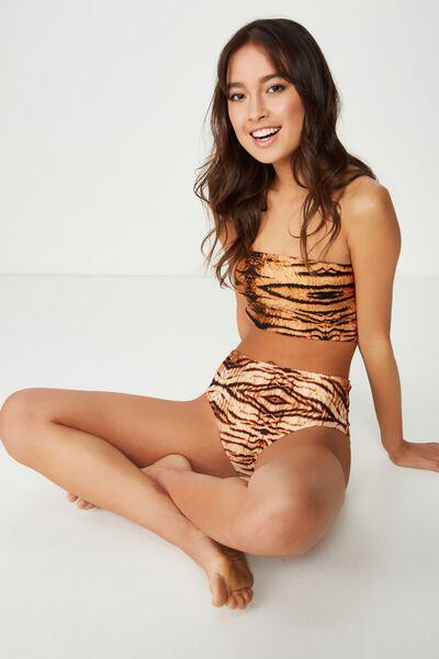 Longline Bandeau Bikini Top, TIGER