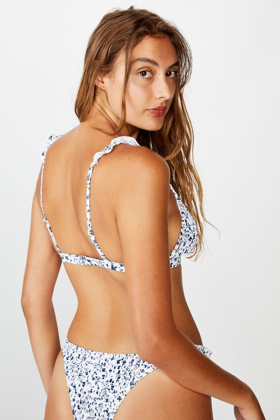 Fixed Triangle Bikini Top, GARDEN DITSY BLUES SHIRRED