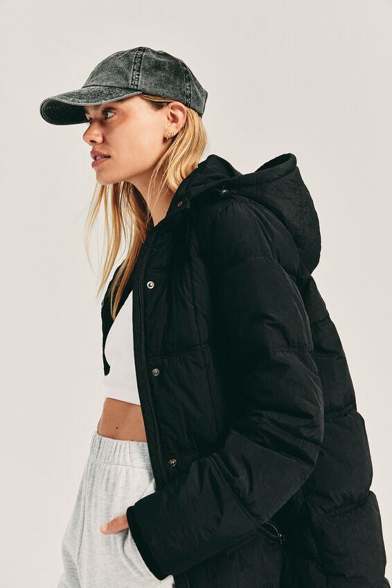 The Mother Mid Length Puffer, BLACK